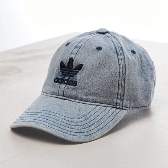 8c5a9254fab Adidas washed denim Trefoil hat